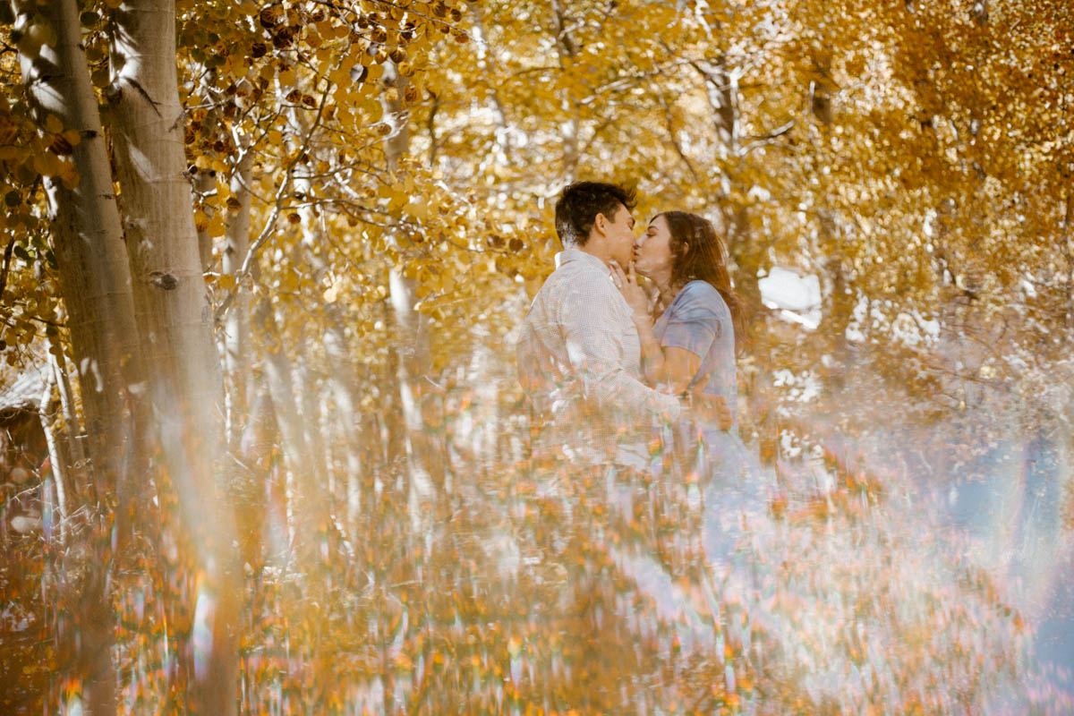 mammoth lakes engagement session fall colors reflection
