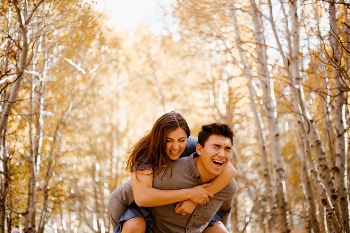 mammoth lakes engagement session fall color full effect